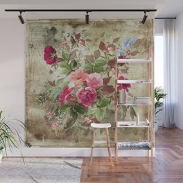 Roses on Vintage Background Wall Mural