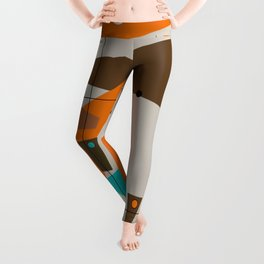 Mid-Century Rectangles Abstract Leggings