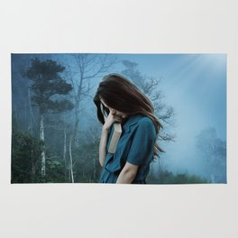 Wistful Woman in Woods With Book Rug