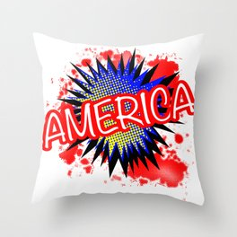 America Red White And Blue Cartoon Exclamation Throw Pillow