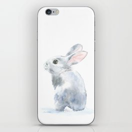 Gray Bunny Rabbit Watercolor Painting iPhone Skin