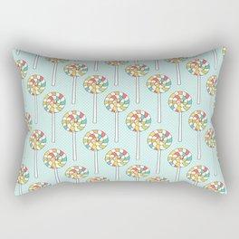 Rainbow Lollipops on Light Blue Rectangular Pillow