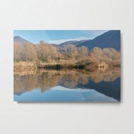 winter reflection on landscape lake Metal Print