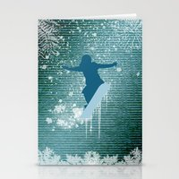 snowboarding Stationery Cards featuring Snowboarding by nicky2342