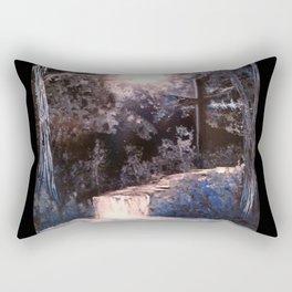 Landscape Nature Waterfall Blue Cross Rectangular Pillow