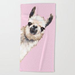 Sneaky Llama Beach Towel