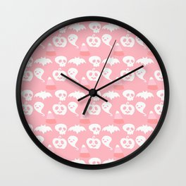 Pink Adorable Halloween Pattern Wall Clock