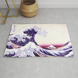 The Great wave purple fuchsia Rug