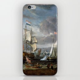 Abraham Storck - An English Yacht saluting a Dutch Man-of-War in the port of Rotterdam (1708) iPhone Skin
