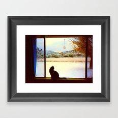 Tosca's Winter Window Framed Art Print