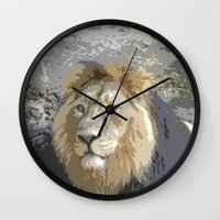 lion king Wall Clocks featuring Lion King by MehrFarbeimLeben