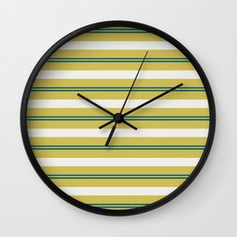 Off White, Dark Yellow and Tropical Dark Teal Inspired by Sherwin Williams 2020 Trending Color Oceanside SW6496 Stripes Thick and Thin Horizontal Line Pattern Wall Clock