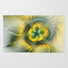 Golden Fantasy Flower, Fractal Art Rug