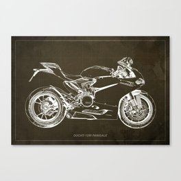 Motorcycle blueprint, Superbike 1299 Panigale, 2015,brown background, gift for men, classic bike Canvas Print