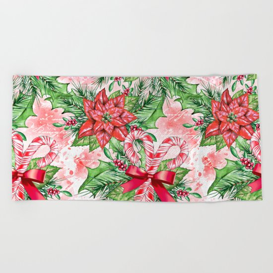 Poinsettia & Candy cane Beach Towel