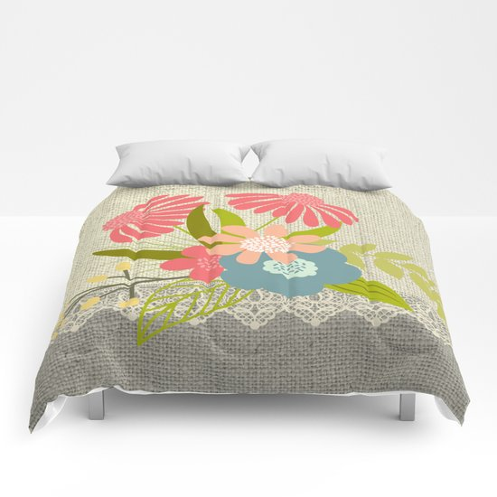 Flower bouquet lace burlap #1 Comforters