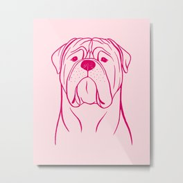 Bullmastiff (Pink and Berry) Metal Print