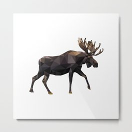 Polygon geometric Moose Metal Print