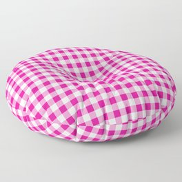 Shocking Hot Pink Valentine Pink and White Buffalo Check Plaid Floor Pillow