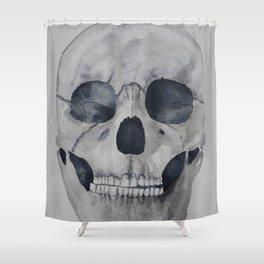 Human skull watercolour Shower Curtain