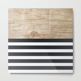 Navy stripe + wood Metal Print