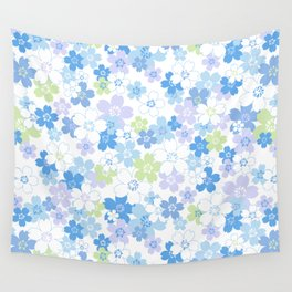 cherry blossom - blue Wall Tapestry
