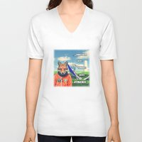 starfox V-neck T-shirts featuring Starfox - F*CK YOU PEPPY! by John Medbury (LAZY J Studios)