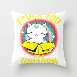 Cat Unicorn Caticorn Fuck You funny gift Throw Pillow