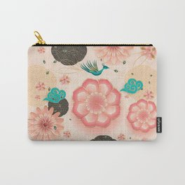 Floral Ornament, Flying Peacock Spring Peach Garden, Decorative Pink Flowers, blossom sakuras BOHO Carry-All Pouch