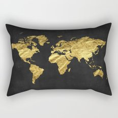Black Gold Decor, Gold World Map, Office Decor, Bathroom, Glam, Black Wall Art Rectangular Pillow