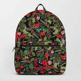 Christmas Floral Black Backpack