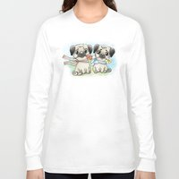 pugs Long Sleeve T-shirts featuring Cute pugs by Anna Syroed