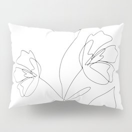 Poppies Minimal Line Art Pillow Sham