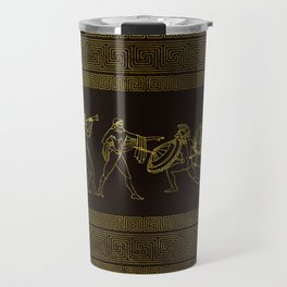 Ancient Sparta  Greece scene on greek pattern Travel Mug