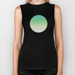 Shades of Ocean Water - Abstract Geometric Line Gradient Pattern between See Green and White Biker Tank