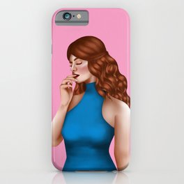Charming Redhead Lady in Blue Dress iPhone Case