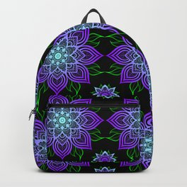 Blue and Purple Flower Pattern Backpack