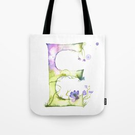 Letter E watercolor - Watercolor Monogram - Watercolor typography - Floral lettering Tote Bag