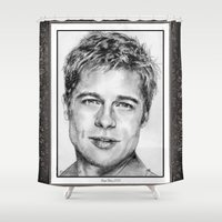 brad pitt Shower Curtains featuring Brad Pitt in 2006 by JMcCombie