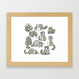 Delightfully Blobby Raccoons Framed Art Print