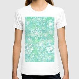 Snowflakes - green T-shirt