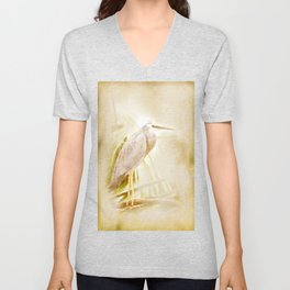 Antique style blue heron on textured background Unisex V-Neck