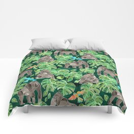 Gorillas in the Emerald Forest Comforters