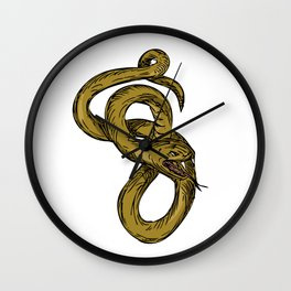 Viper Coiled Ready To Pounce Drawing Wall Clock