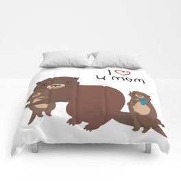 I Love You Mom. Funny brown kids otters with fish on white background. Gift card for Mothers Day. Comforters