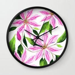 Watercolor Clematis Florwers Wall Clock