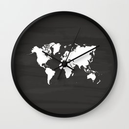Chalkboard World Map Art Print Wall Clock