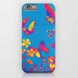 Blue Butterflies & Flowers iPhone Case