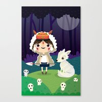 princess mononoke Canvas Prints featuring Princess mononoke  by Maria Jose Da Luz