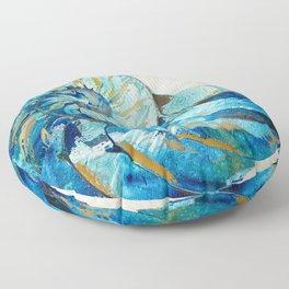 Tropical Blue Beach Art - Nautilus Shell Bleu 2 - Sharon Cummings Floor Pillow